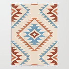 Aztec Style Motif Pattern Blue Cream Terracottas Poster