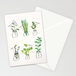 Mason Jar Herbs Stationery Cards