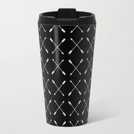 White Arrows Pattern Travel Mug