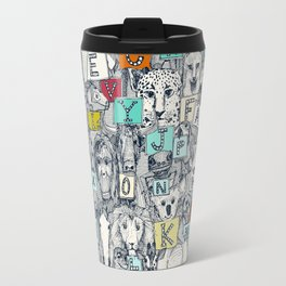 animal ABC indigo multi Travel Mug