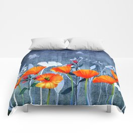 Summer night- Shadow of a Poppy meadow- Flowers on #Society6 Comforters