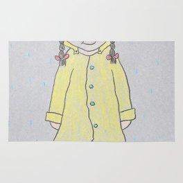 Girl wearing a Yellow Raincoat Rug