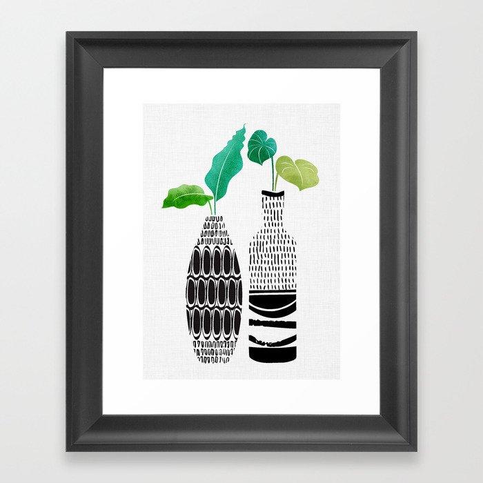 Tribal Vases II with Tropical Greenery Framed Art Print