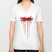 reservoir dogs V-neck T-shirts featuring Reservoir Dogs Blood Drip by Van Hog Trio