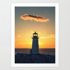 Lone Cloud Lighthouse Art Print