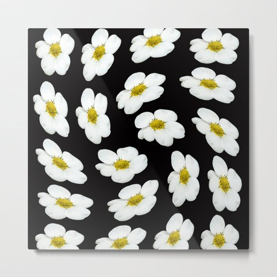 White flowers on a black background #Society6 #buyart Metal Print