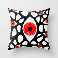 evil eye Throw Pillows featuring Evil Eye by Denise R.