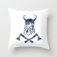 viking Throw Pillows featuring Viking by Spiro Vasilevski