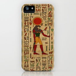 Egyptian Re-Horakhty  - Ra-Horakht  Ornament on papyrus iPhone Case
