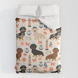 Dachshund nautical sailor dog pet portraits dog costumes dog breed pattern custom gifts Comforters