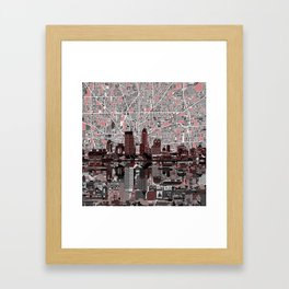 indianapolis city skyline grey Framed Art Print