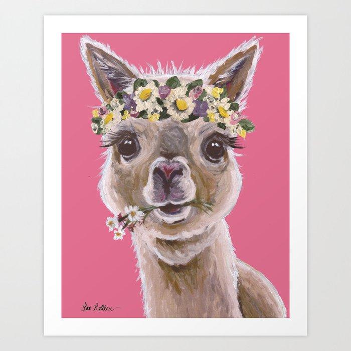 0fe3ef65 Alpaca Art, Alpaca Flower Crown Art Print by leekeller | Society6