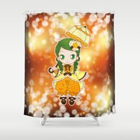 chibi Shower Curtains featuring Chibi Canaria by Yue Graphic Design