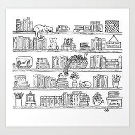 Bookshelf! Art Print