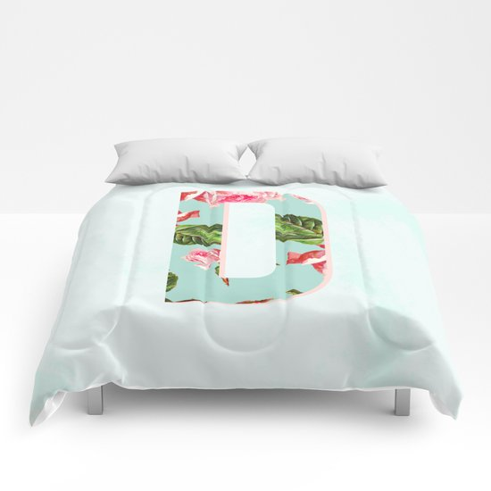 Floral Letter D - Letter collection Comforters