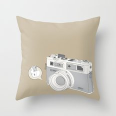 """Yashica Camera - """"Say Cheese"""" - soft-brown Throw Pillow"""