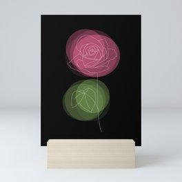 Pastel Spring Rose Flower on a Black Backdrop Mini Art Print