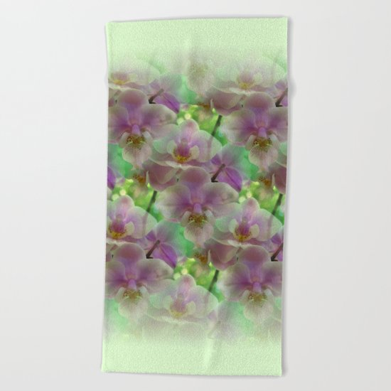 Tropical Pink Orchid Fantasy Beach Towel