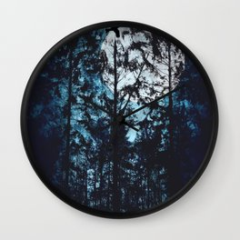 Moon Through Trees Wall Clock