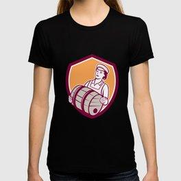 Female Bartender Carrying Keg Shield Retro T-shirt