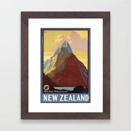 Mitre Peak, Milford Sound New Zealand Framed Art Print