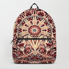 Beige Old Rose Mandala  Psychedelic Pattern Backpack