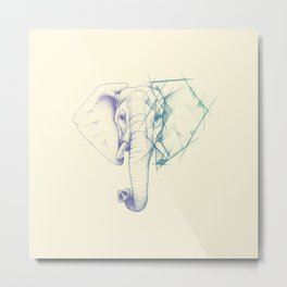 Sketched elephant Metal Print