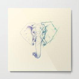 Sketched elephant Metal Print