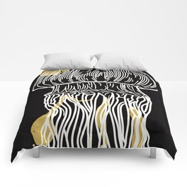 Electric Gold Jellyfish Uno Comforters