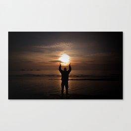 sun in my hands Canvas Print