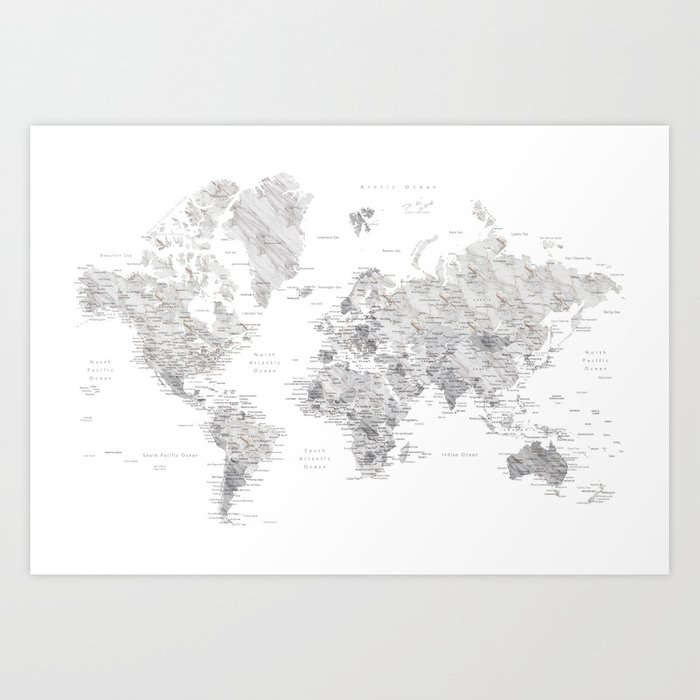 light grey and brown marble world map art print