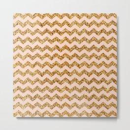 Bisque Gold Glitter Chevron Pattern Metal Print