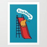 kiwi Art Prints featuring Kiwi by Picomodi