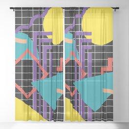 Memphis Pattern - 80s Retro Black Sheer Curtain