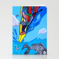 transformer Stationery Cards featuring Trippy Transformer Bird Mixed Media Painting on Canvas by VibrationsArt