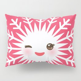 Merry Christmas card design Kawaii white snowflake funny face with eyes and red cheeks on pink Pillow Sham