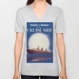 Travel the world by Cruise Ship Unisex V-Neck