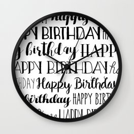 Happy Birthday | Black and White Pattern Wall Clock