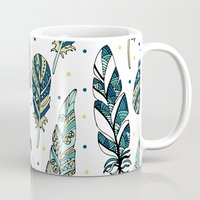 feathers Mugs featuring Feathers by Julia Badeeva