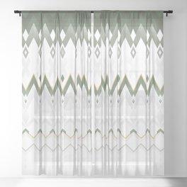 Icelandica Pattern Green Sheer Curtain