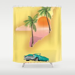 Miami Florida Vacation poster. Shower Curtain