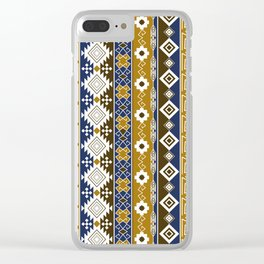Colorful Aztec pattern with gold. Clear iPhone Case
