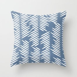 Leaves abstract in blue Throw Pillow
