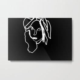 Negative Face Line Drawing Metal Print