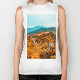 The Great Wall of China in Autumn (Color) Biker Tank