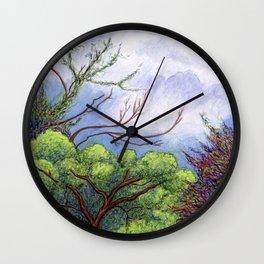 Landscape Mixed Media Painting Wall Clock