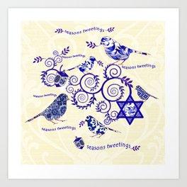 Hanukkah Seasons Tweetings  Art Print