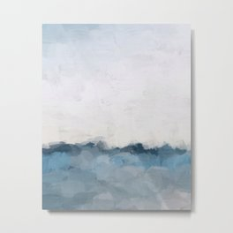 Sky Denim Indigo Navy Blue Ocean Sea Horizon, Abstract Nature Ocean Sunny Clear Morning Water, Paint Metal Print