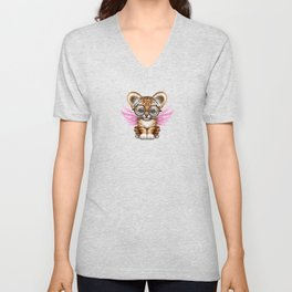 Tiger Cub with Fairy Wings Wearing Glasses on Pink Unisex V-Neck