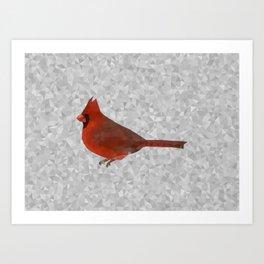 Geometric Cardinal in the Snow Art Print
